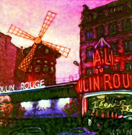 Moulin Rouge (evening), Paris, France
